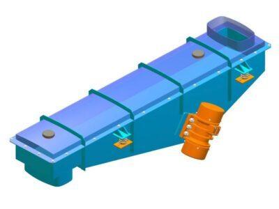 Вібраційний лотковий плоский зачинений живильник з інертним приводом типy PWkzb