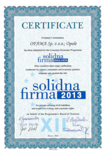 certyfikat Ofama - solidna firma biała lista