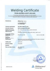 certyfikat Ofama - Welding Certificate