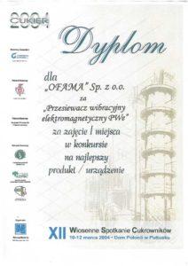 dyplom Ofama - przesiewacz wibracyjny elektromagnetyczny PWe