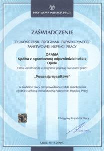 Zaświadczenie u ukończeniu programu prewencyjnego inspekcji pracy