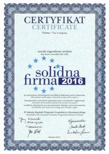 Certyfikat - Solidna firma 2016