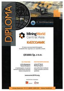 Dyplom - Mining World Cenral Asia - KAZCOMAK
