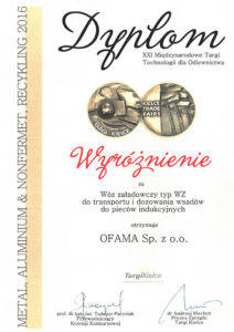 Dyplom - XXI Międzynarodowe Targi Technologii dla Odlewnictwa