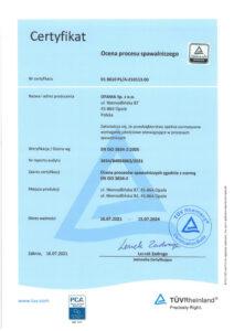 Certyfikat - ocena procesu spawalniczego