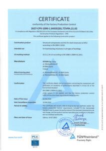 Certificate - Inspection of welding process