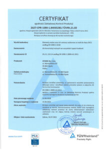 Certyfikat - zgodności Zakładowej Kontroli Produkcji